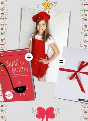 """Dovana vaikams: knyga vaikams apie mitybą """"SAMČIO BURTAI"""" ir lininė UGI prijuostė mergaitėms """"RAUDONI TAŠKIUKAI""""."""