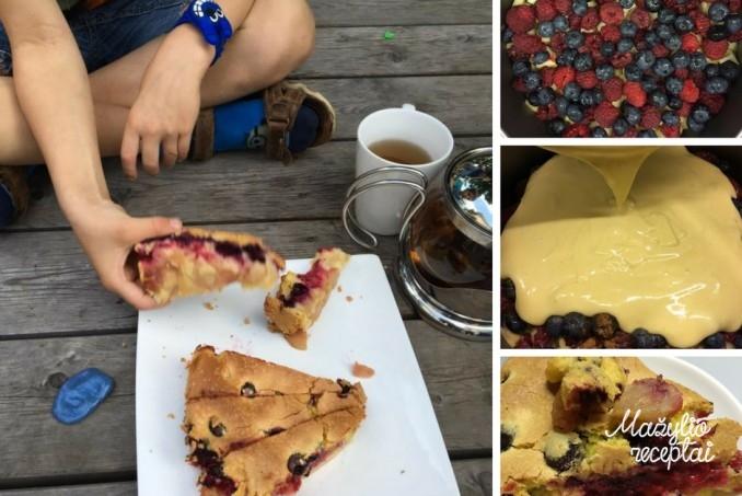 Skanus, lengvai pagaminamas vasarinis pyragas su uogomis ir obuoliais.